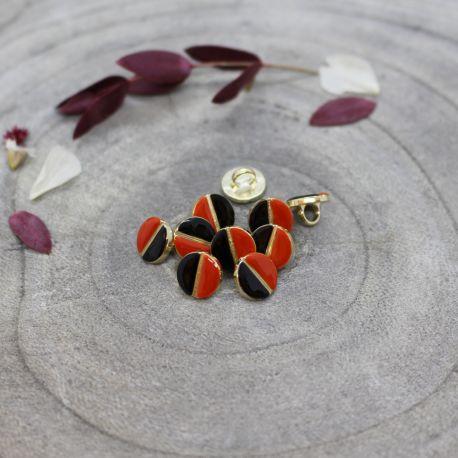 Wink Buttons Black - Tangerine